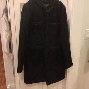 J Crew black tweed coat size 10 NWT
